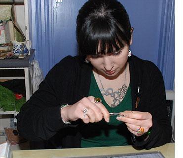 Elisa making jewellery