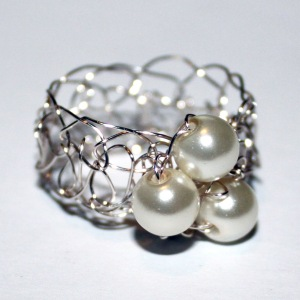 Pearl Crochet Ring
