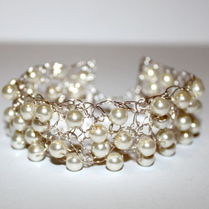 Crochet Bracelet Glass Pearls