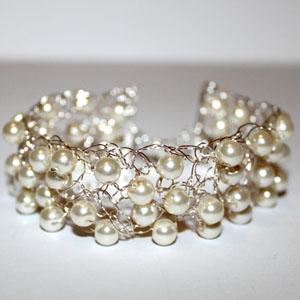 Crochet Bracelet Glass Pearls